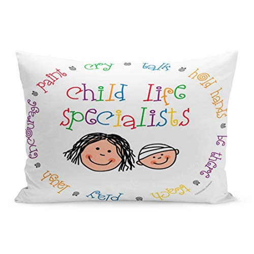 Aikul Throw Pillow Cover Hospital Child Life Specialists Pediatric Play Therapy Inspirational Pillow Case Cushion Cover Lumbar Pillowcase Decoration for Couch Sofa Bed Car, Queen Size 20 x 30 inchs