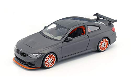 BMW M4 GTS Gray with Carbon Top and Orange Wheels 1/24 Diecast Model Car by Maisto 31246