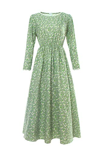 CR ROLECOS Pioneer Women Costume Floral Prairie Dress Deluxe Colonial Dress Laura Ingalls Costume Green L]()