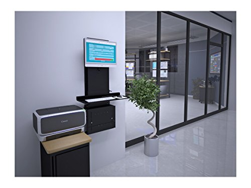 Versa Tables Ultra Slim Adjustable Wall Mounted Desktop Workstation with CPU Holder, Keyboard Tray & Universal Monitor Mount, Black -  UFWM-B