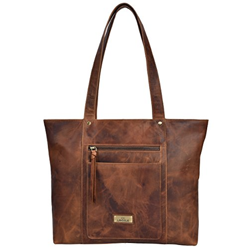 Genuine Leather Shoulder Handbag for Women - Tote Womens Handbag for Travel,Work,College (Cognac Vintage)