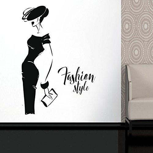 Wall Decal Window Sticker Beauty Salon Woman Face Fashion Style Clothing Boutique Dress Black Dress Model Hat t227
