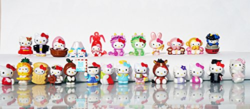 [RusToyShop] 10 psc random (size:2-2.5 cm) Hello Kitty Mini figures toys party favor birthday cupcake toppers cartoon series to children's holiday miniature, surprise baby, party favor Figurine