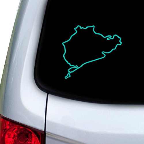 1349 Series (StickAny Car and Auto Decal Series Nurburgring Sticker for Windows, Doors, Hoods (Turquoise))