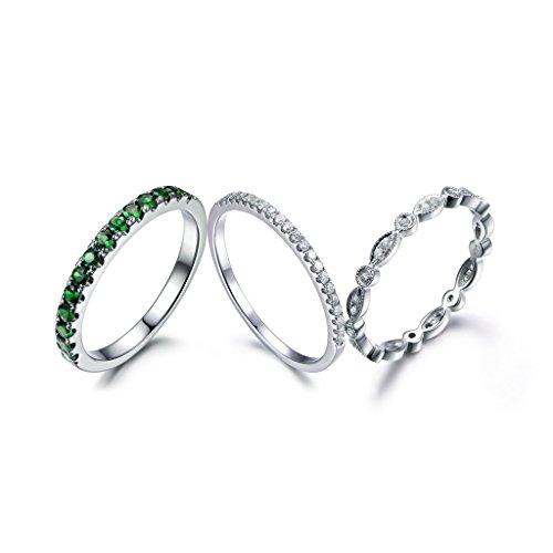 MYRAYGEM-wedding band 1 Natural Green Tsavorite Half Eternity Ring 2 SI I-J Diamond Stacking Matching Bands 14k White Gold Sets