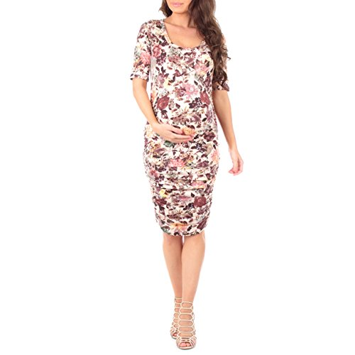 Women's Ruched Maternity Dress by Mother Bee - Made in USA (Extra Large, Floral Mauve