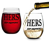 Hers and Hers, Sip Happens, Lesbian Couple Gifts, Stemless Wine Glasses, Perfect for Wedding, Anniversary, Newlyweds, Gay and Housewarming Gifts LGBT For Sale