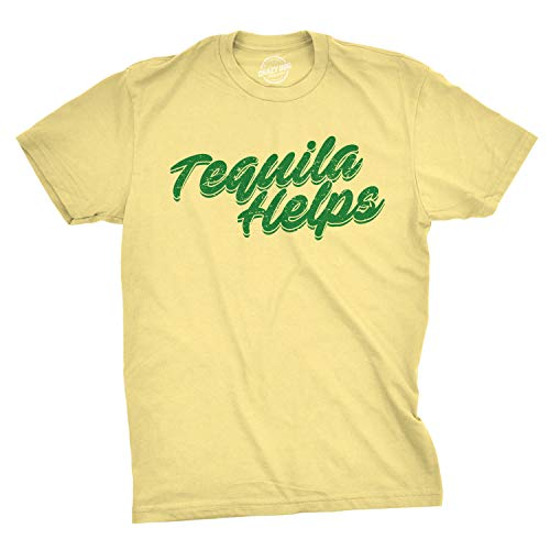 Crazy Dog T-Shirts Mens Tequila Helps Tshirt Funny Mexico Drinking Taco Tuesday Margarita T Shirt (Yellow) - S