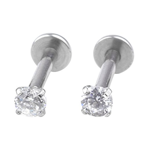 Women's Body Jewelry Unisex Clear Cubic Zirconia Gem Stainlss Steel Barbell Earring/ Cartilage Helix Earring/ Stud Earring Nose Piercing Lip Rings for $<!--$2.29-->