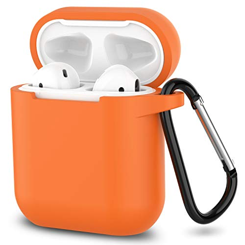 AirPods Case,SATLITOG Protective Silicone Cover Compatible with Apple AirPods 2 and 1(Not for Wireless Charging Case)(Bright Orange)