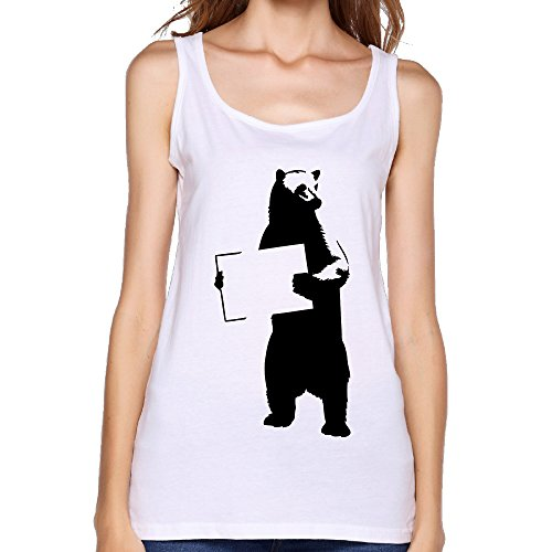 FONY Women's Bear with Sign Hd Vector Symbol Cool Cotton Tank Tops Sleeveless T-Shirts