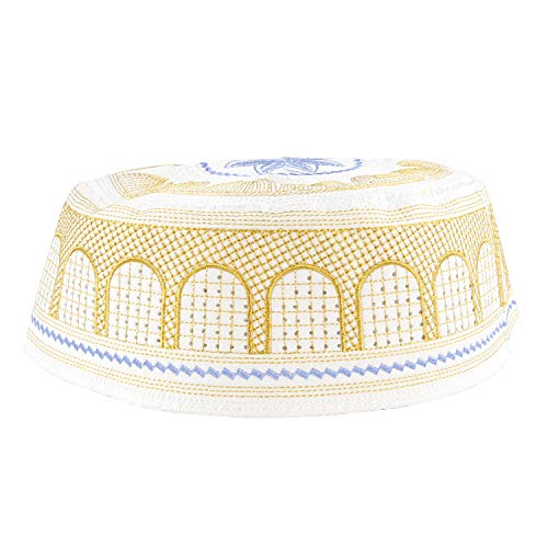 (Gus Muslim Embroidered Prayers Kufi Hat,Islam Skull Cap White)