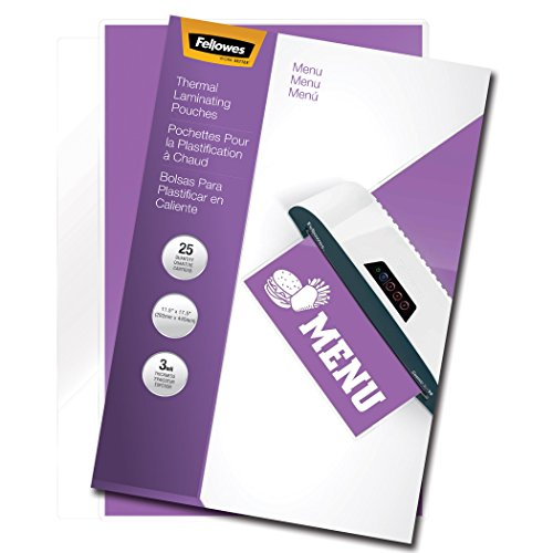 Fellowes Laminating Pouches, Thermal, Menu Size, 17.5 x 11.5 Inches, 3 Mil, 25 Pack (52011) by Fellowes