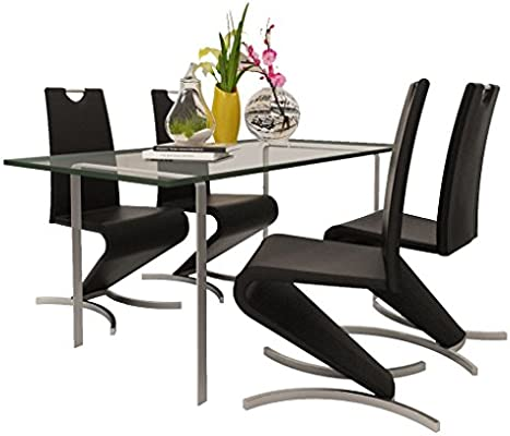 Festnight Dining Chairs 4 Pcs Cantilever H Shaped Unique Modern Stable And Comfortable Dining Chair Artificial Leather Black White Dining Room Furniture Amazon Com Au
