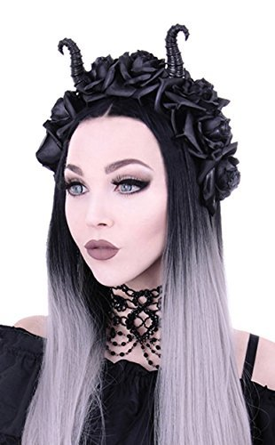 RE Style Maleficent Horns & Gothic Black Roses Headband
