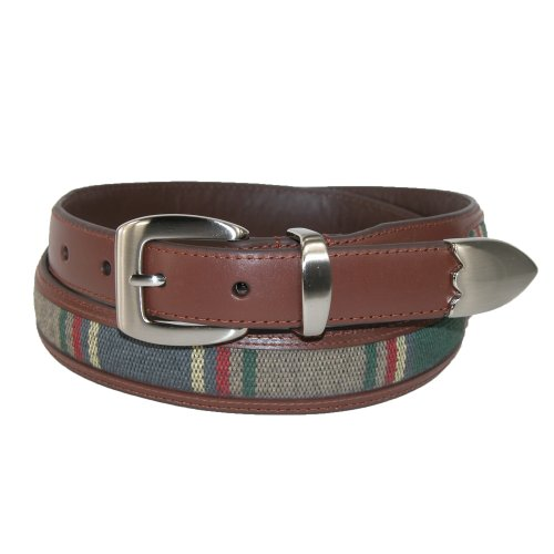 Aquarius Men's Leather 3 Piece Golf Belt with Fabric Inlay, 38, (Aquarius Leather Belt)
