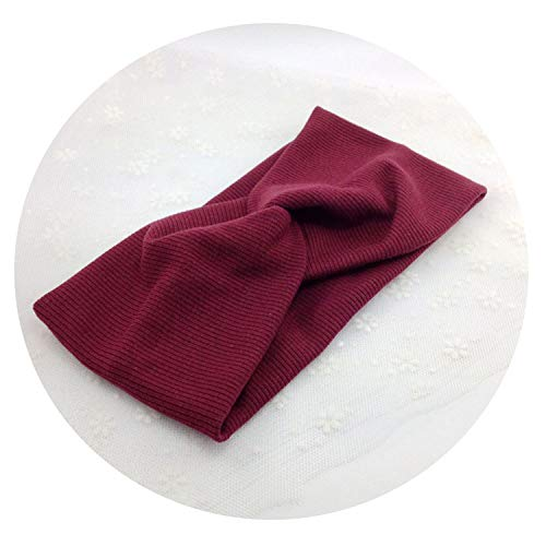 - Vintage Cross Knot Elastic Hair Bands Soft Solid Hairband Hair Accessories,Style 3 Wine Red