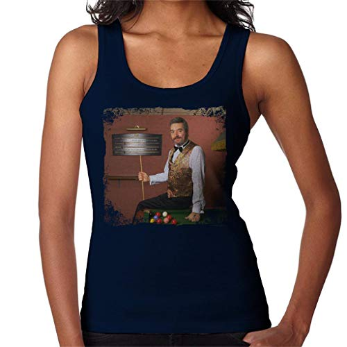 TV Times Snooker Player John Virgo from The Big Break Women's Vest Navy Blue (Best Snooker Player Of All Time)