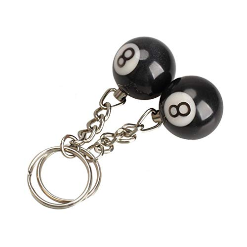 2pcs Billiard Pool Keychain Snooker Table Ball Key Ring Gift Lucky NO.8