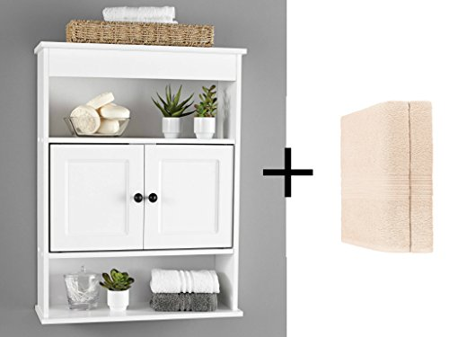 Chapter Bathroom Wall Cabinet in Neutral White Finish with Bonus 2pc Bath Sheet Bundle Set Wall Cabinet Set