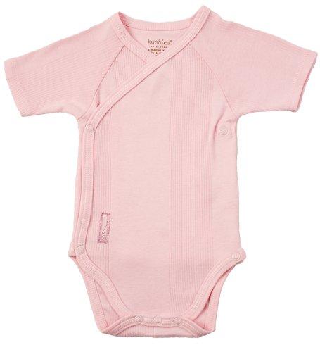Kushies Short Sleeve Wrap Bodysuit, Pink, 3 Months