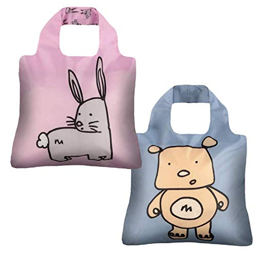 - Reusable Grocery Bags- Set of 2 Cute Jac and Jill, Envirosax Foldable Quality Shopping Tote Bag, Eco-Friendly Polyester, Waterproof & Machine Washable. For Travel, Shopping, Crafts, Gender Reveal
