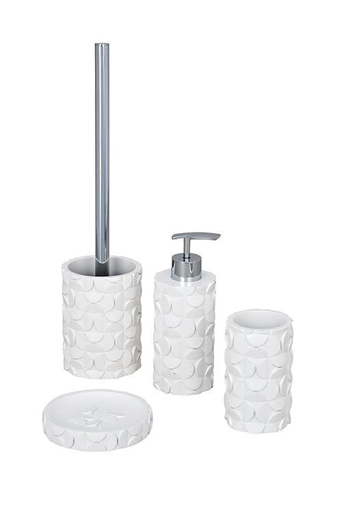WENKO 4 unidades Accesorios SET WC-garnitur jabonera dispensador de jabón líquido para cepillos de