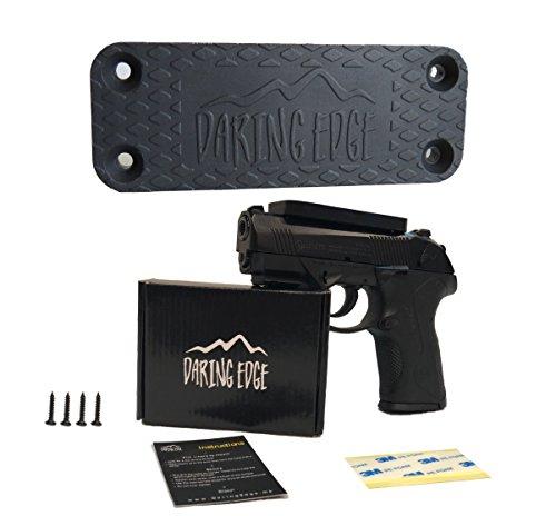 Daring Edge Magnetic Gun Mount kit -rubber coating protects firearm- 45 lb rated neodymium magnet -glock, pistol, revolver & handgun accessories- hidden holster for safe wall or car -strong holder Edge Gun