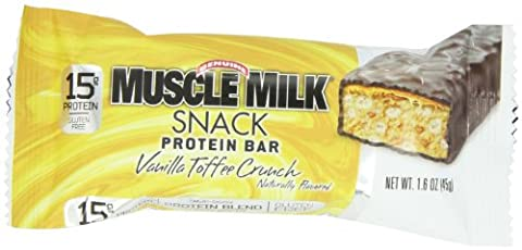 CytoSport Muscle Milk Snack Protein Bar, Vanilla Toffee Crunch, 45 g., pack of 12 - 45% Milk