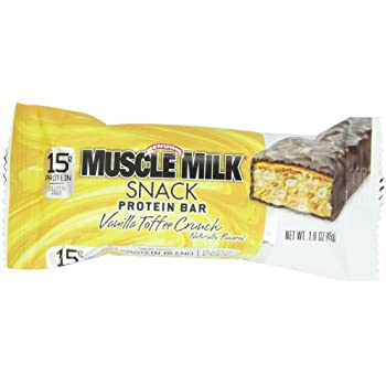 CytoSport Muscle Milk Snack Protein Bar, Vanilla Toffee Crunch, 45 g, pack of 12