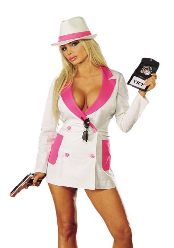 Dreamgirl Women's Undercover Detective Costume,White/Hot Pink,Large - Sexy Adult Detective Costumes