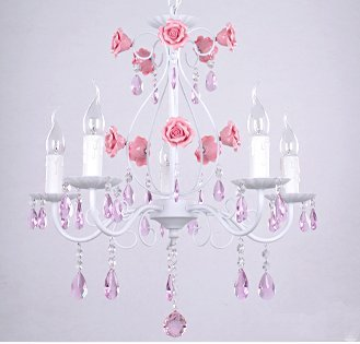 Korean Five Idyllic Romantic Bedroom Lamp Living Room Light Pink Crystal Lamps Wrought Iron Chandelier