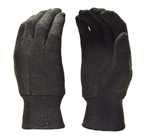 Jersey Reversible Gloves - G & F 4408-25 Heavy Weight 9oz Cotton Brown Jersey Work Gloves, Large, 25-Dozen