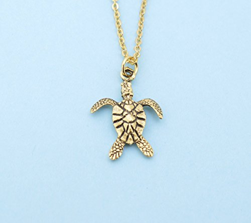 "Turtle Charm Gold Plated - Sea Turtle necklace in gold plated pewter on a 20"" gold plated cable chain. Sea Turtle necklace. Sea Turtle jewelry. Turtle charm."