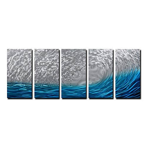 Yihui Arts Blue Metal Wall Art, Large Scale Decor in Abstract Ocean Design, 3D Wall Art for Modern and Contemporary Decor, 5-Panels Measures 24