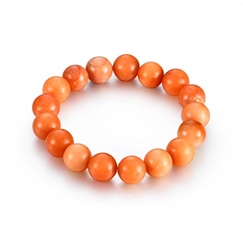 Akvode Women's 12mm Amber stones Bracelet Stretch Charms Bracelet Energy Healing stones Bead Bracelets For Mother's Day Gifts(Amber) Amber Beaded Stretch Bracelet