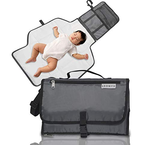 Portable Baby Diaper Changing pad Cover with Cushioned Changing mat by Leonyx Table Liner Cover wipeable pad for Travel. Waterproof and Foldable Bag. ()