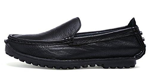 Tda Mens Bekväma Slip-on Läder Sömmar Kör Jag Loafers Båt Skor Svart