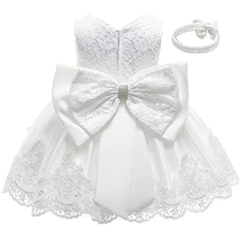 White Formal Prom Summer Wedding Girls Dresses A-line Sleeveless Knee Length Tutu Ruffle Kids Dress Princess Christeing Birthday Party Baby Dress 3T Ivory