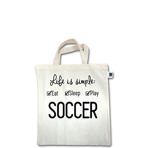 Fußball - Life is simple Soccer - Unisize - Natural - XT500 - Fairtrade Henkeltasche / Jutebeutel mit kurzen Henkeln aus Bio-Baumwolle