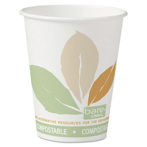 SOLO Cup Company Bare Eco-Forward Paper Hot Cups, 8 oz., Bare Design, 50/Bag - Includes 20 sleeves of 50 cups. 1000 per case.