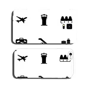 Vector black airport icons set cell phone cover case iPhone5