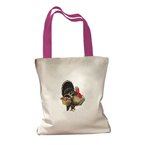 Turkey And Basket Fruits Thanksgiving Canvas Colored Handles Tote Bag - Hot Pink