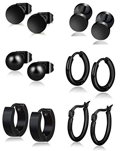 YOVORO 6 Pairs Stainless Steel Stud Earrings for Men Women Hoop Earrings Huggie Ear Piercing 18G