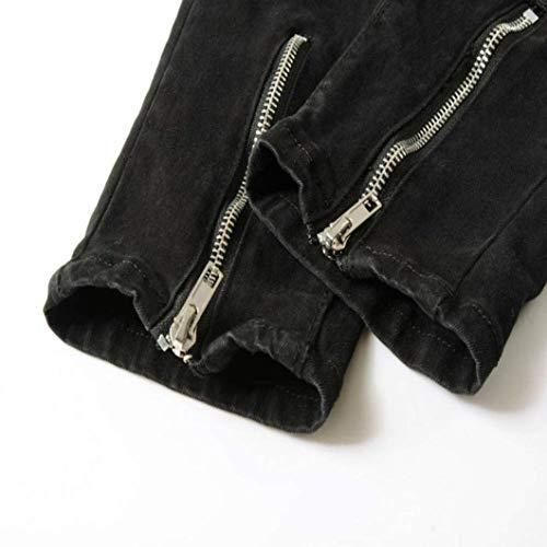 Stretch Used Skinny Abbigliamento Uomo Pantaloni Strappati Con Vintage Effetto Zip Nero Jeans Adelina Slim Fray Denim xnSvfaPqww