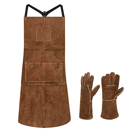 "eletecpro Length 42"" 6 Pockets Leather Welding Apron & Welding Gloves Men/Women"
