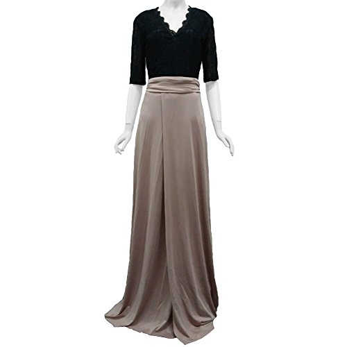 Abody® Sexy Women Maxi Dress Deep V Neck Lace Top Side Slit Half Sleeve Evening Party Prom Gown