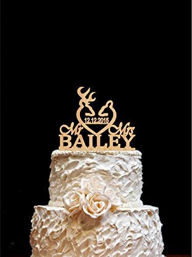 Amazoncom Rustic Wedding Cake Topper Mr Mrs Deer Wedding Cake