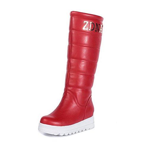 AgooLar Damen Ziehen auf Mittler Absatz PU Rein Mittler Kalb Stiefel Rot