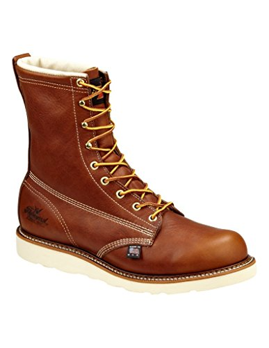 Thorogood 804-4280 Mens American Heritage 8 Round Toe, MAXwear Wedge Waterproof Composite Safety Toe Boot (3M Thinsulate), Tobacco Oil-Tanned - 9 D(M) US